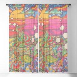 Psychadelic Illustration Sheer Curtain