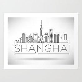 Linear Shanghai Skyline Art Print