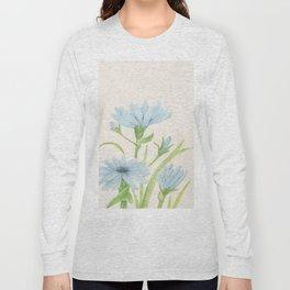 Watercolor Garden Flower Blue Cornflower Wildflower Long Sleeve T-shirt