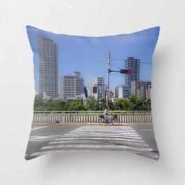 Biking Osaka Throw Pillow