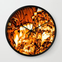 Abstract Gold Fire Paint V Wall Clock