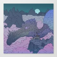 kaiju Canvas Prints featuring Cloud Kaiju  by Ashton Dame