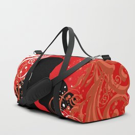 Boy and girl with ornamental background Duffle Bag