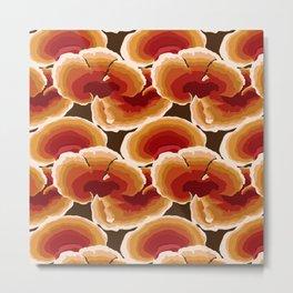 Retro Reishi Mushrooms Metal Print