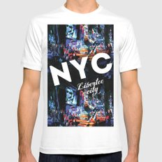 NEW-YORK (LIBERTEE CITY) White Mens Fitted Tee MEDIUM