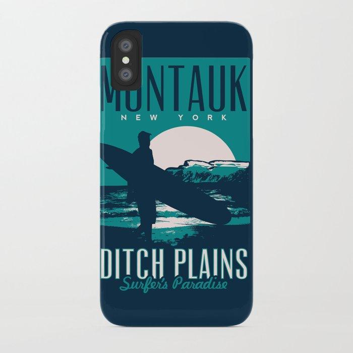 montauk ditch plains vintage surf poster iPhone Case
