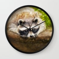 racoon Wall Clocks featuring baby racoon by Photoplace