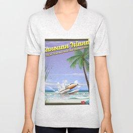 Canouan Islands travel poster Unisex V-Neck