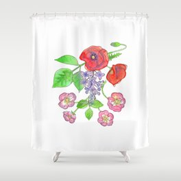 Wild Poppies, Lilacs, and Roses Shower Curtain