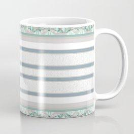 Decorative Teal Grey Stripe Pattern Coffee Mug