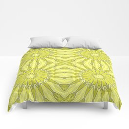 Yellow Pinwheel Flower Comforters