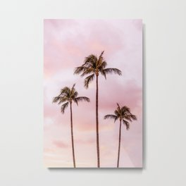 Palm Tree Photography | Landscape | Sunset Unicorn Clouds | Blush Millennial Pink Metal Print