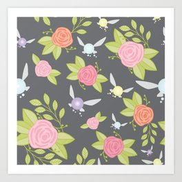 Garden of Fairies Pattern in Grey Art Print