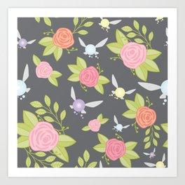 Garden of Fairies Pattern in Grey Art Print