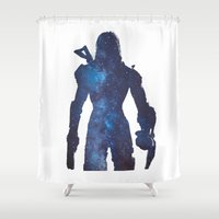 mass effect Shower Curtains featuring Mass effect - Space , Female Shepard  by Fatih