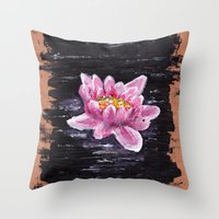 lotus flower Throw Pillows featuring Lotus by KeithKarloff