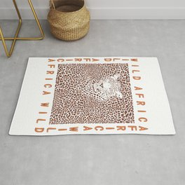 Background Leopard and text Rug