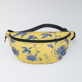 Elegant Blue Passion Flower on Mustard Yellow Fanny Pack