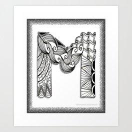 Zentangle M Monogram Alphabet Initials Art Print