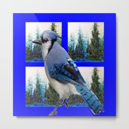 MOUNTAIN BLUE JAY SCENIC ART Metal Print