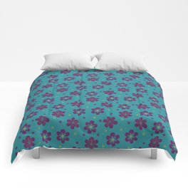 Doodle Button Floral Purple Green Teal Comforters