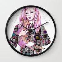 kris tate Wall Clocks featuring EMBRACE by Kris Tate and Ola Liola  by Ola Liola