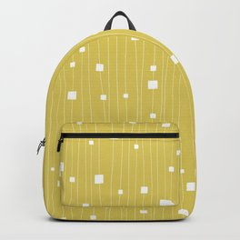Squares and Vertical Stripes - Yellow and White - Hanging Backpack