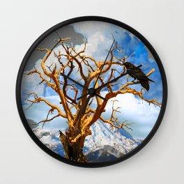 MOUNTAIN RAVEN SITTING IN DEAD TREE Wall Clock