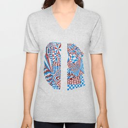 Striped Fish, Red/Blue Abstract Design (Ink Drawing) Unisex V-Neck