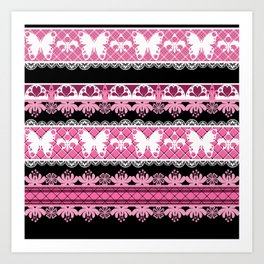 Black and pink striped pattern . Art Print