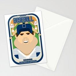 Baseball Blue Pinstripes - Rhubarb Pitchbatter - Bob version Stationery Cards