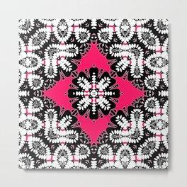 Geometric Tribal Hot Pink & Black Metal Print
