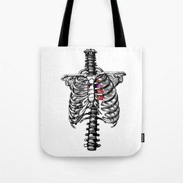 Anatomical Heart Art, Human Heart and Rib Cage Tote Bag