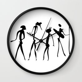 Figures looks like cave painting - primitive art - warriors Wall Clock