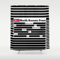 korea Shower Curtains featuring North Korea News Paper by pollylitical