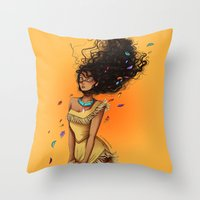 pocahontas Throw Pillows featuring Pocahontas by C. Cassandra