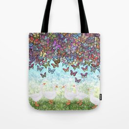 butterfly cascade and white geese Tote Bag