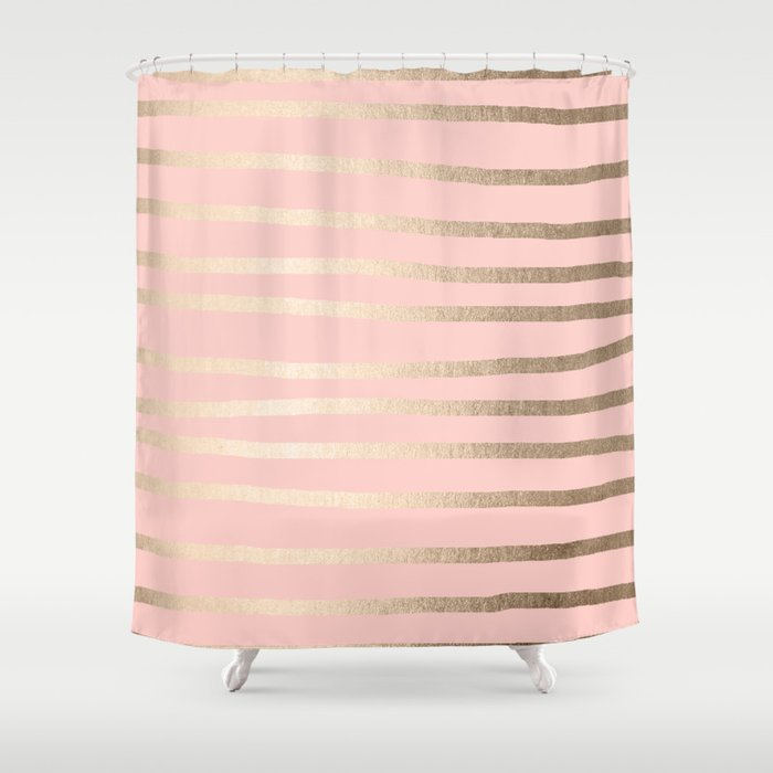 Abstract Drawn Stripes Gold Coral Light Pink Shower Curtain