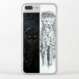 Big Cats (Black & White) Clear iPhone Case