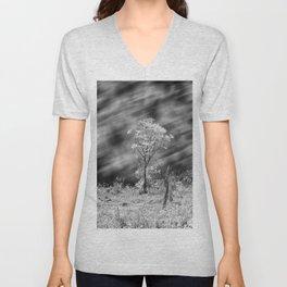 Tree Black White Long Exposure Unisex V-Neck