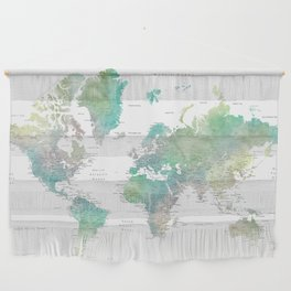 Watercolor world map in muted green and brown Wall Hanging