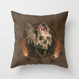 Awesome creepy skull with rat Throw Pillow