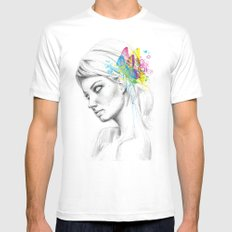 Butterfly Queen Girl with Butterflies White MEDIUM Mens Fitted Tee