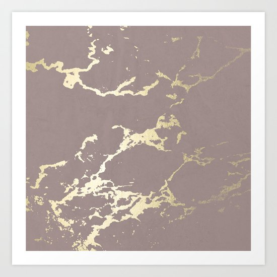 Simply Kintsugi Ceramic Gold on Red Earth Art Print