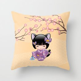 Japanese Neko Kokeshi Doll V2 Throw Pillow