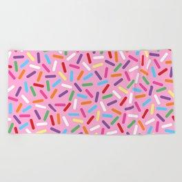 Pink Donut with Sprinkles Beach Towel