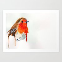 robin Art Prints featuring Robin by Paint the Moment