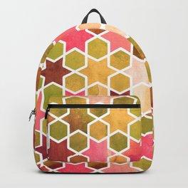 Kaleidoscope effect. Watercolor mosaic stars. Backpack