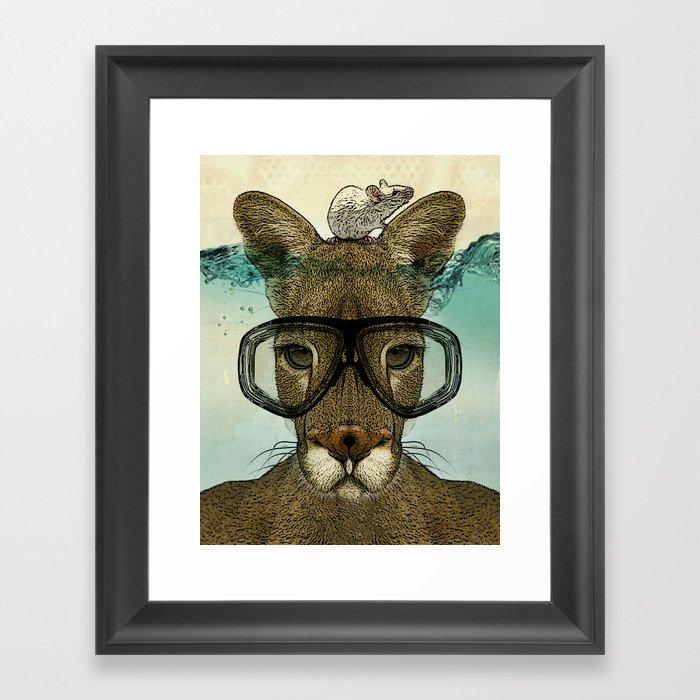 Skuba Roo and a white mouse Framed Art Print