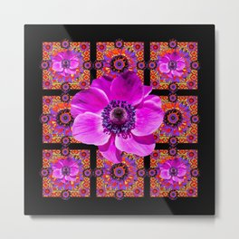 PURPLE ANEMONE FLOWER BLACK PATTERN Metal Print